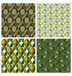 Olive set of seamless backgrounds vector