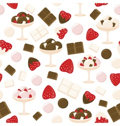 Strawberry and chocolate ice cream pattern vector