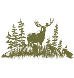 Woodcut moose design vector