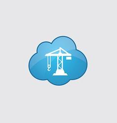 Blue cloud building crane icon vector