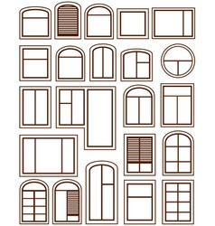 Set isolated windows silhouette vector