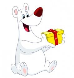 Polar bear christmas gift vector