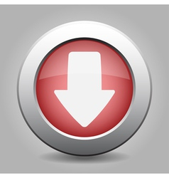 Metal button with the red arrow vector