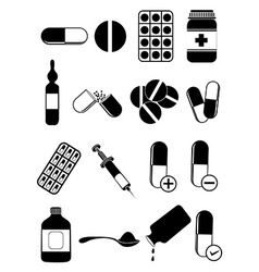 Medicine pills icons set vector