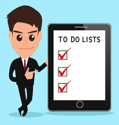 Businessman shows to do lists on tablet screen vector