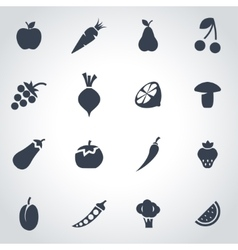 Black fruit and vegetables icon set vector