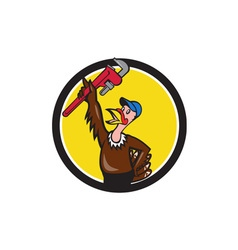 Turkey plumber raising wrench circle cartoon vector