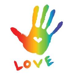 Bright colorful handprint vector