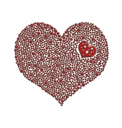 Heart-shaped design element made of red pearls vector