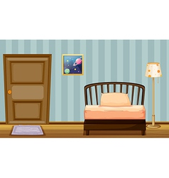 A wooden bed vector