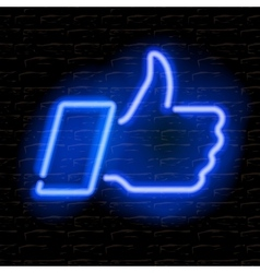 Neon thumbs up symbol on brick wall background vector