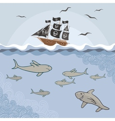 Template with cartoon sharks vector