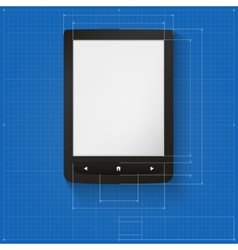 Realistic e-book on the drawing grid with vector