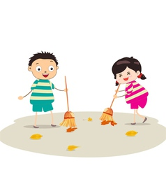 Little girl sweeping vector