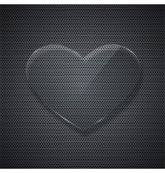 Glass heart on metal grid background vector
