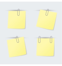 Set of yellow sheets attached clip vector