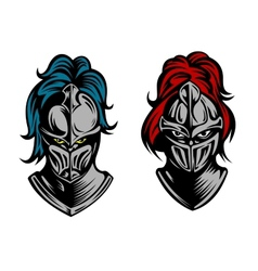 Heads of two fierce men in medieval armour vector