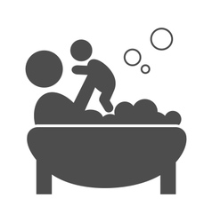 Parent takes a bath with the baby pictogram flat vector