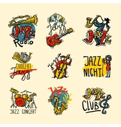 Jazz labels set vector