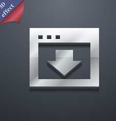 Arrow down download load backup icon symbol 3d vector