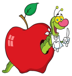 Hungry worm in a red apple vector
