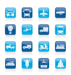Transportation and travel icons vector