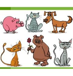 Animals sketch cartoon set vector
