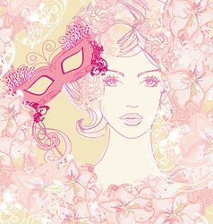 Beautiful woman with carnival mask abstract floral vector