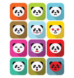 Panda bear flat emotions icons set vector