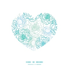 Blue line art flowers heart silhouette vector