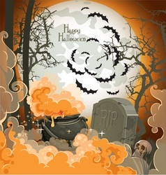 Happy halloween night of 31 october pot of potion vector
