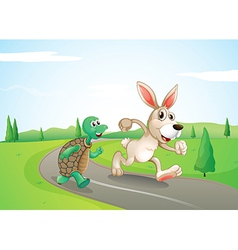 A bunny and a turtle running along the road vector