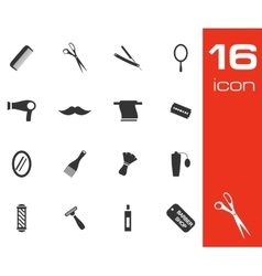 Black barber icon set on white background vector
