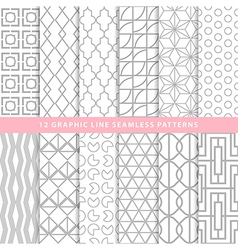 Set of graphic line seamless patterns monochrome vector