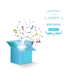 Happy birthday box with confetti surprise vector