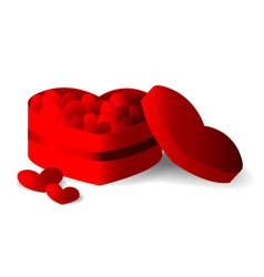 Red heart box with hearts vector