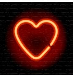 Neon heart on the brick wall vector