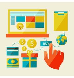 E-commerce symbols internet shopping elements vector