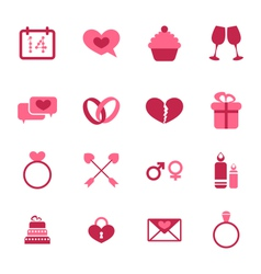 Trendy flat icons for valentines day design vector