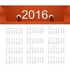 Calendar for 2016 year vector