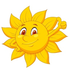Sun cartoon character with thumb up vector