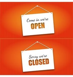 Open and closed door signs board vector