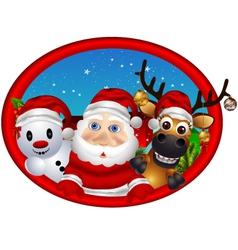 Santa claus deer and snowman vector