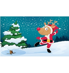 A playful reindeer wearing santas outfit vector