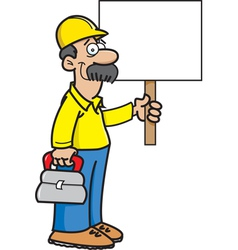 Cartoon construction worker with a sign vector