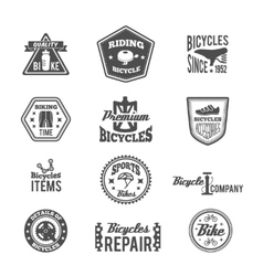 Set of bike monochrome label vector