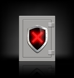 Metal safe with a shield which depicts a cross vector