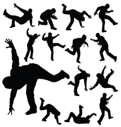 Man in various poses of break dance silhouette vector