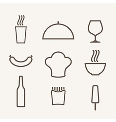 Food icon set outline vector