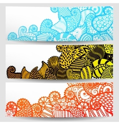 Set of three ornamental banners vector